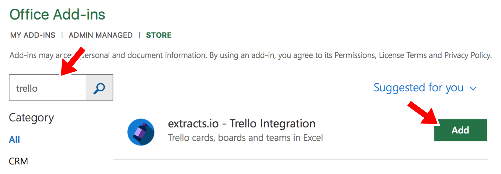 Search for trello and click add